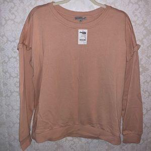 Charlotte Russe M blush pink ruffle sweatshirt NWT